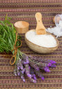 Fresh lavender flowers spa set and aromatic salt on a bamboo mat Royalty Free Stock Photos