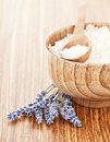 Fresh lavender flowers and wooden bowl with salt Royalty Free Stock Photo