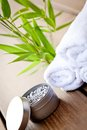 Fresh lavender white towel and bath salt on wooden background wellness spa healthcare Royalty Free Stock Photos