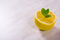 Fresh lemon with branch of mint