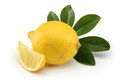 Fresh lemon the isolated white background Royalty Free Stock Photos