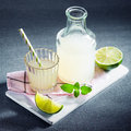 Fresh lemon juice or lemonade with mint bottle and glass of freshly prepared chilled served slices of lime and on a Stock Photography