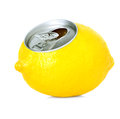 Fresh lemon juice in a tin close up isolated on white background Royalty Free Stock Images