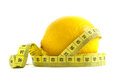 Fresh lemon with tape for weight loss Royalty Free Stock Photography