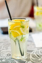Fresh lemonade citrus and cucumber Royalty Free Stock Images