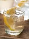 Fresh lemonade cold with lemon selective focus Royalty Free Stock Photos
