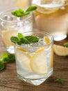 Fresh lemonade cold with lemon selective focus Royalty Free Stock Image
