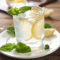 Fresh lemonade cold with lemon selective focus Stock Images