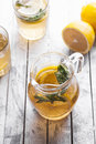 Fresh lemonade in a glass jug