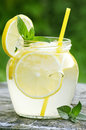 Fresh lemonade made with lemons and mint Stock Photos