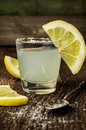 Fresh lemonade on a wooden background Stock Images