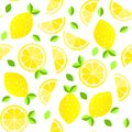 Fresh lemons background. Hand drawn overlapping backdrop. Colorful wallpaper vector. Seamless pattern with citrus fruits