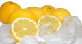 Fresh lemons ice cubes Royalty Free Stock Images
