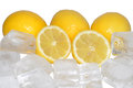 Fresh lemons ice white background Royalty Free Stock Images