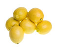 Fresh lemons isolated on white group of Royalty Free Stock Image