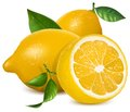 Fresh lemons with leaves Royalty Free Stock Photos