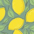 Ripe lemons and leaves, colorful background. Seamless pattern with citrus fruits