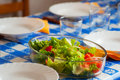 Fresh lettuce and tomato salad in the table ready to meal Royalty Free Stock Photography