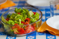 Fresh lettuce and tomato salad in the table ready to meal Royalty Free Stock Image
