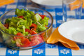 Fresh lettuce and tomato salad in the table ready to meal Stock Images