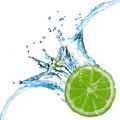 Fresh lime dropped into water with splash Stock Image