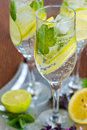 Fresh lime lemonade glass of and mint Royalty Free Stock Photos