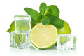 Fresh lime, mint and ice cubes Royalty Free Stock Image