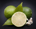 Fresh limes on a slate Royalty Free Stock Photography