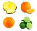 Fresh limes, sliced orange, Pineapple juicy slices Royalty Free Stock Photo