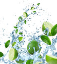 Fresh limes in water splash Stock Image