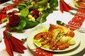 Fresh lobster on festive table and white wine a with red folded napkins Royalty Free Stock Image