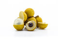Fresh longan close up on white background Stock Photo