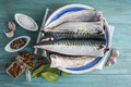 Fresh mackerel to cook a plate with and spices on the kitchen table Stock Photos