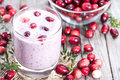 Fresh made Cranberry Milkshake Royalty Free Stock Photo