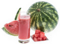 Fresh made watermelon juice fresh fruit pieces Stock Image
