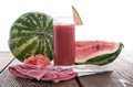 Fresh made watermelon juice fresh fruit pieces Stock Photography
