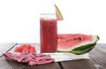 Fresh made watermelon juice fresh fruit pieces Stock Photos