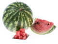 Fresh made watermelon juice fresh fruit pieces isolated white Royalty Free Stock Photography