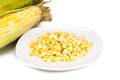 Fresh maize cob and kernels on plate against white background Royalty Free Stock Photo
