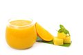 Fresh mango juice on white background Stock Photo