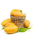 Fresh mango and leaves in basket Royalty Free Stock Photo
