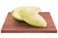 Fresh mango - Sliced green mangoes on wooden with isolated white Royalty Free Stock Photo