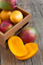 Fresh mango in wooden box Royalty Free Stock Images