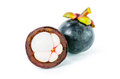 Fresh mangosteen garcinia mangostana linn on white background Stock Images