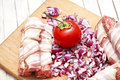 Fresh meat and bacon ham Royalty Free Stock Photos