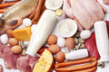 Fresh meat and dairy products Stock Image