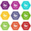 Fresh meat icons set 9 vector Royalty Free Stock Photo