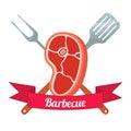 Fresh meat label. Pork, ham, barbecue fork, spatula. Flat style