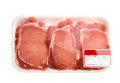 Fresh meat red packed in a poly bag isolated over white Royalty Free Stock Photos