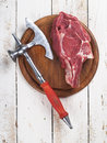 Fresh meat steak raw and ax selective focus Stock Images